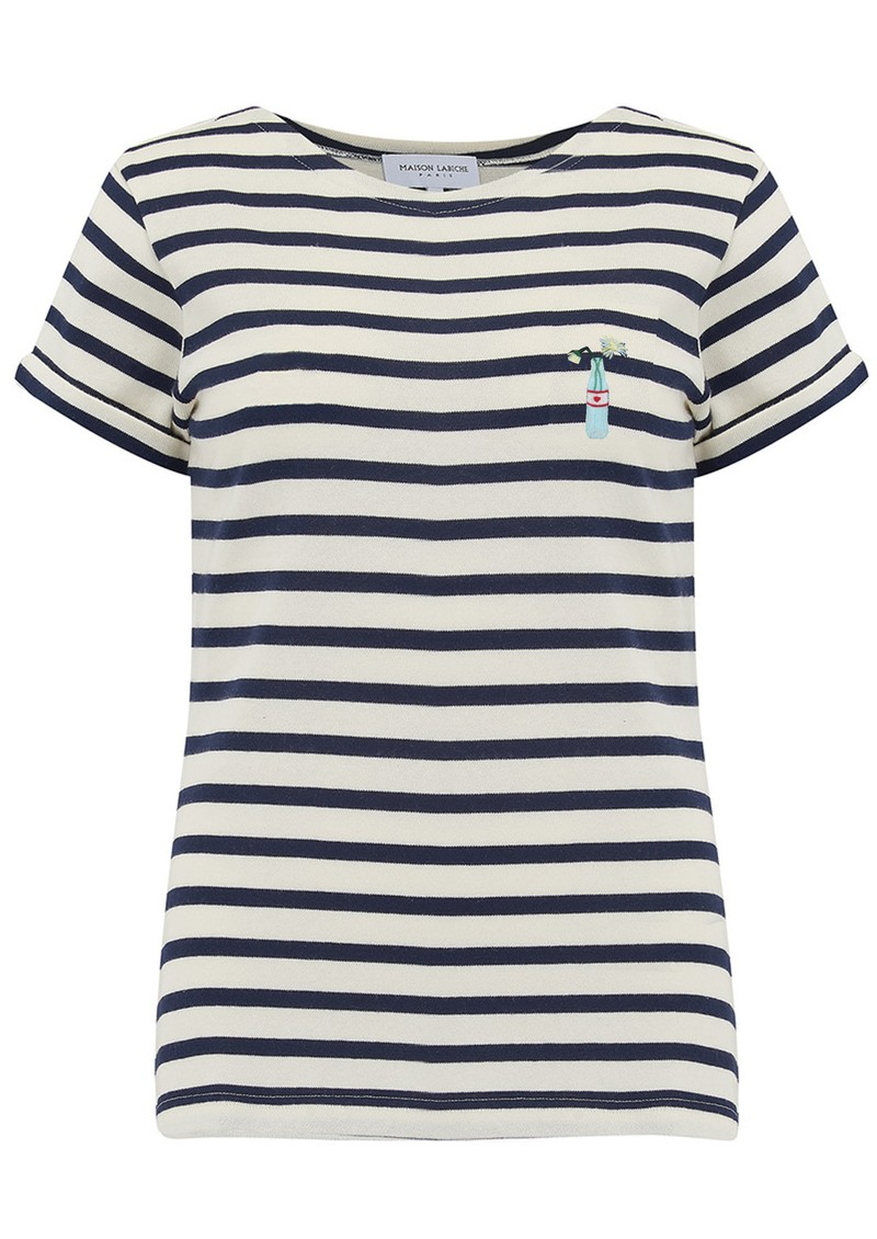 MAISON LABICHE Sailor Short Sleeve Love Me Not Tee - Ivory Navy main image