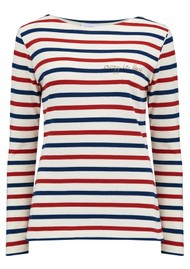 MAISON LABICHE Sailor Long Sleeve Crazy in Love Tee - Natural, Blue & Burgundy