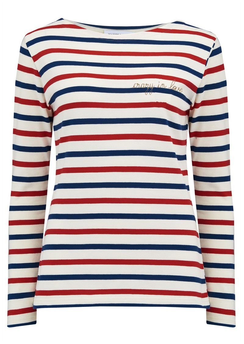MAISON LABICHE Sailor Long Sleeve Crazy in Love Tee - Natural, Blue & Burgundy main image