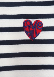 MAISON LABICHE Sailor Long Sleeve Love Is All Tee - Ivory Navy