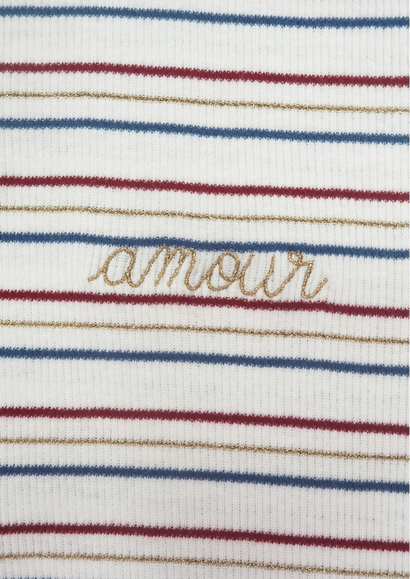 MAISON LABICHE Phoebe Short Sleeve Amour Tee - Natural, Blue & Red  main image