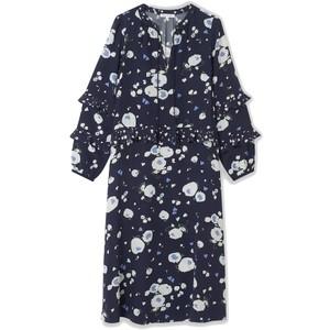 Rina Silk Dress - Heart Flower Navy