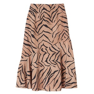 Lottie Silk Skirt - Tiger Natural