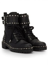 Sam Edelman Jennifer Leather Biker Boots - Black