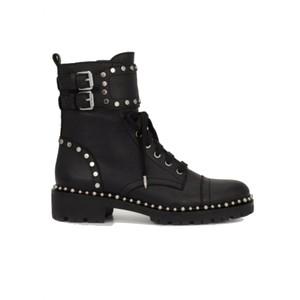Jennifer Leather Biker Boots - Black