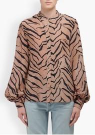 Lily and Lionel Maddox Silk Shirt - Tiger Natural