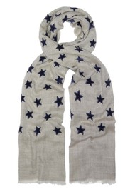 Lily and Lionel Lyra Star Applique Scarf - Grey & Navy