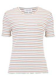 MAISON LABICHE Phoebe Short Sleeve Amour Tee - Natural, Blue & Red