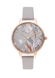 Olivia Burton Abstract Florals Watch - Grey, Lilac & Pale Rose Gold