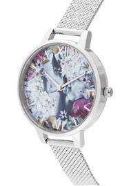 Olivia Burton Under The Sea Demi Dial Boucle Mesh Watch - Silver