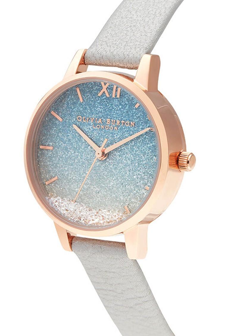 Olivia Burton Wishing Wave Midi Glitter Dial Watch - Shimmer Pearl & Rose Gold main image