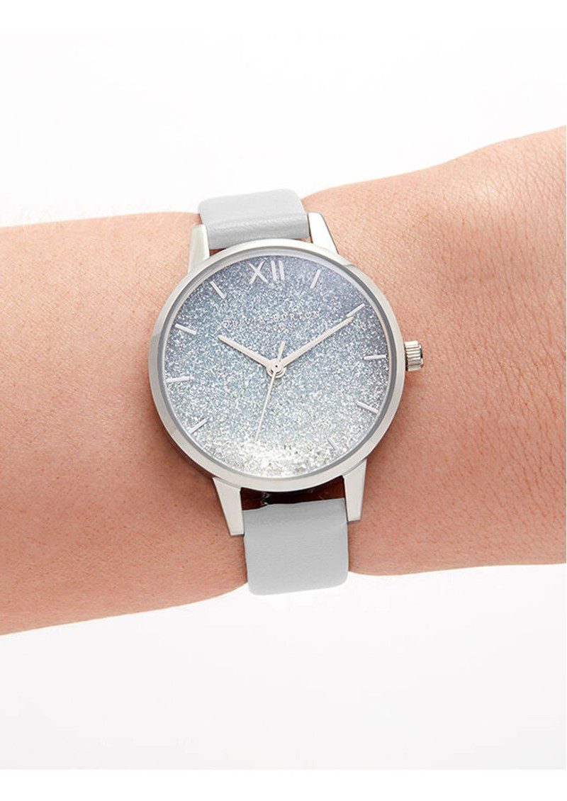 Olivia Burton Wishing Wave Midi Glitter Dial Eco Friendly Watch - Chalk Blue & Silver main image