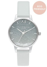 Olivia Burton Wishing Wave Midi Glitter Dial Eco Friendly Watch - Chalk Blue & Silver