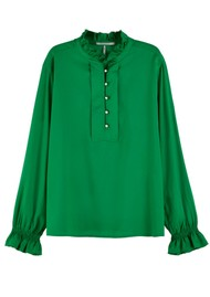 Maison Scotch Ruffled Tunic Top - Palm Green
