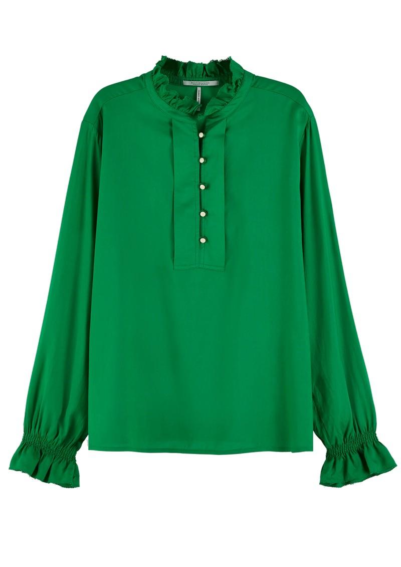 Maison Scotch Ruffled Tunic Top - Palm Green main image