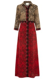 HAYLEY MENZIES Long Silk Shirt Dress - Crocodile