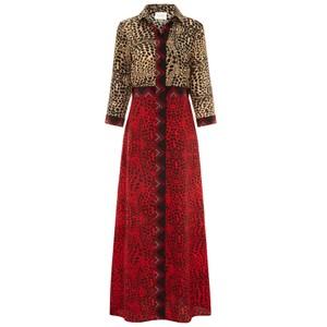 Long Silk Shirt Dress - Crocodile