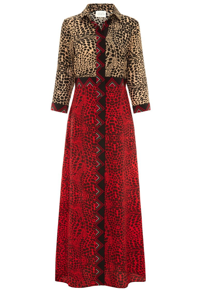 HAYLEY MENZIES Long Silk Shirt Dress - Crocodile main image