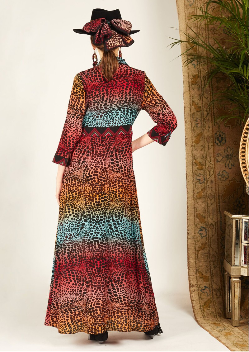 HAYLEY MENZIES Long Silk Shirt Dress - Ombre Croc main image