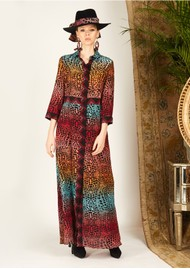 HAYLEY MENZIES Long Silk Shirt Dress - Ombre Croc