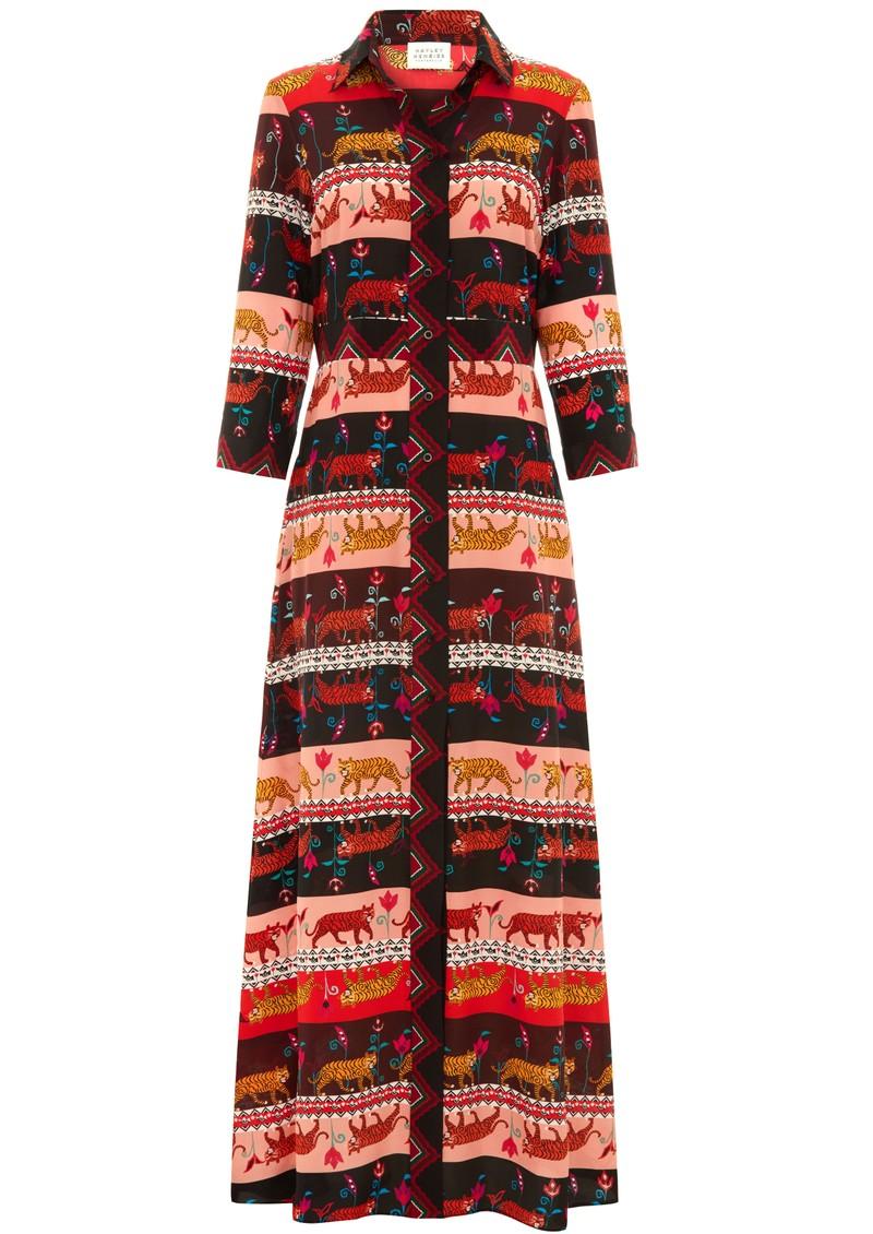 HAYLEY MENZIES Long Silk Shirt Dress - Tigress main image