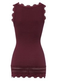 Rosemunde Wide Lace Silk Blend Vest - Soft Wine