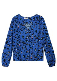 Pyrus Edith Silk Blouse - Blue Animal