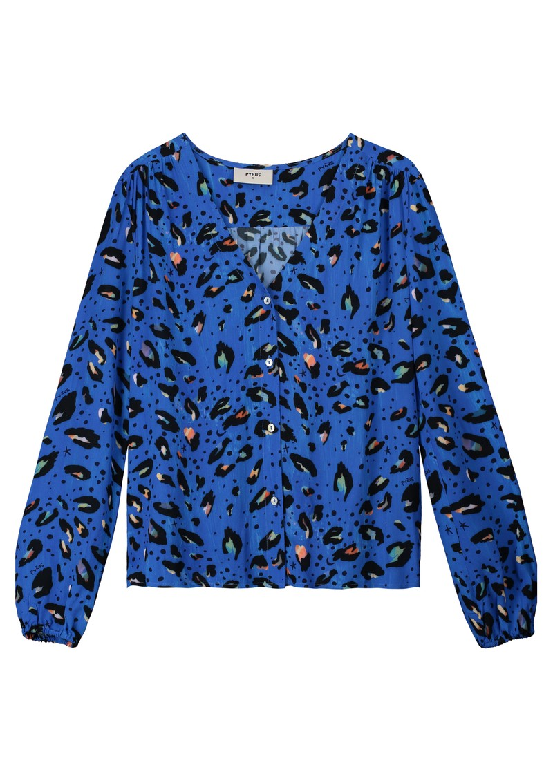 Edith Silk Blouse - Blue Animal main image