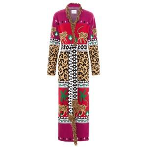 Leopardess Duster Cardigan - Magenta & Red