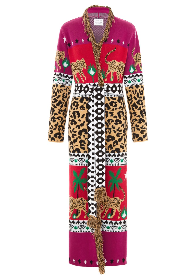 HAYLEY MENZIES Leopardess Duster Cardigan - Magenta & Red main image