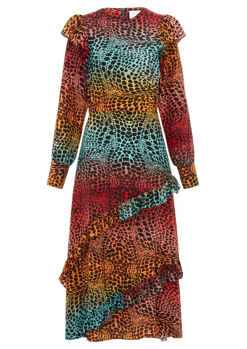 HAYLEY MENZIES Midi Frill Silk Dress - Ombre Croc main image