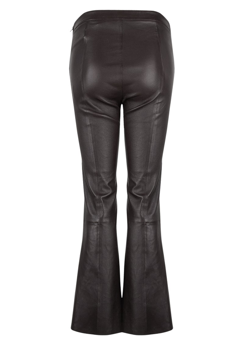 DANTE 6 Tyson Leather Crop Flare Trousers - Raven main image