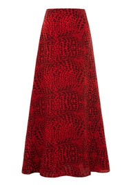HAYLEY MENZIES Silk Maxi Skirt - Crocodile Red