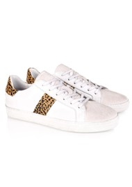 AIR & GRACE Cru Leather Trainers - White & Cheetah