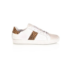 Cru Leather Trainers - White & Cheetah