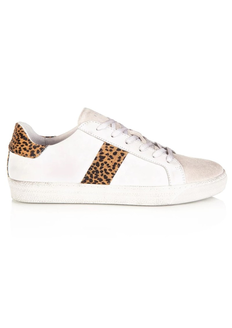 AIR & GRACE Cru Leather Trainers - White & Cheetah main image