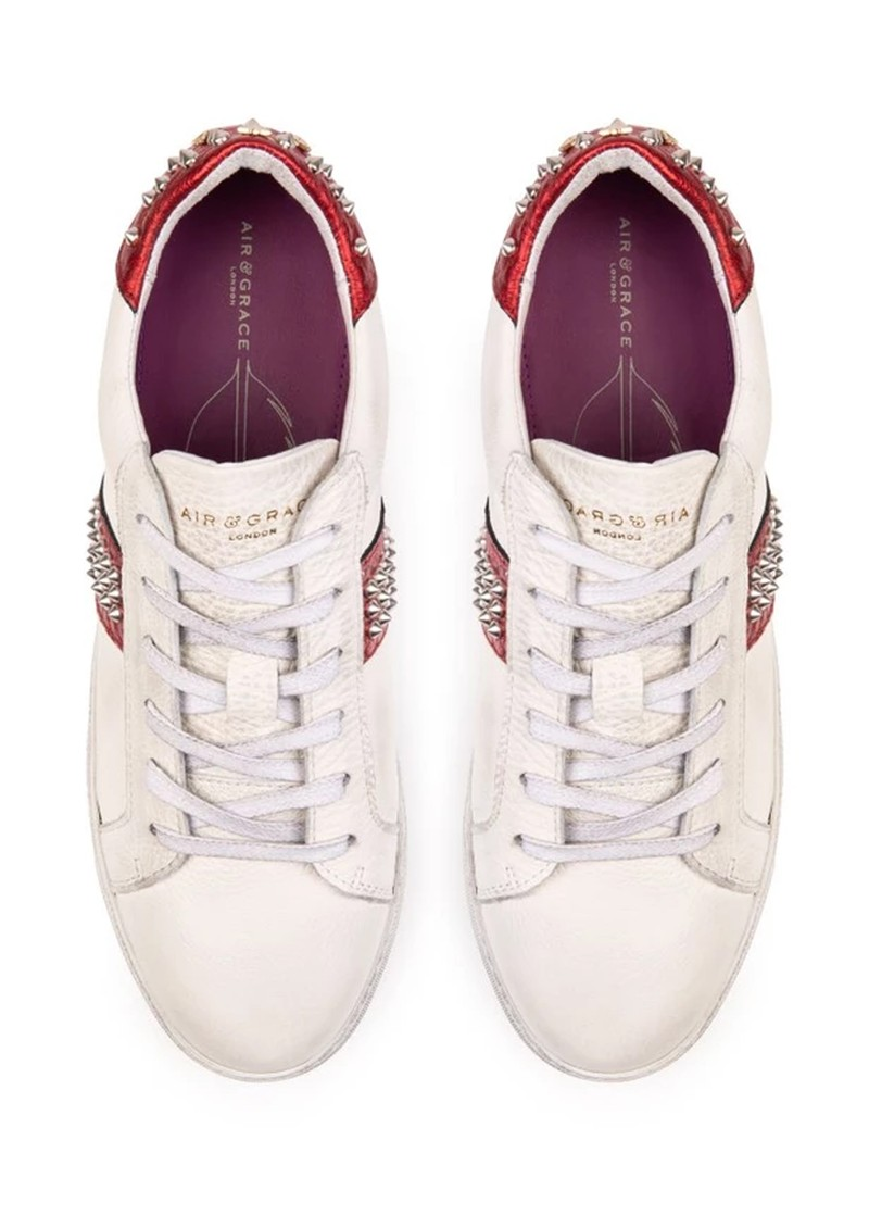 AIR & GRACE Cru Studded Trainer - White & Red main image