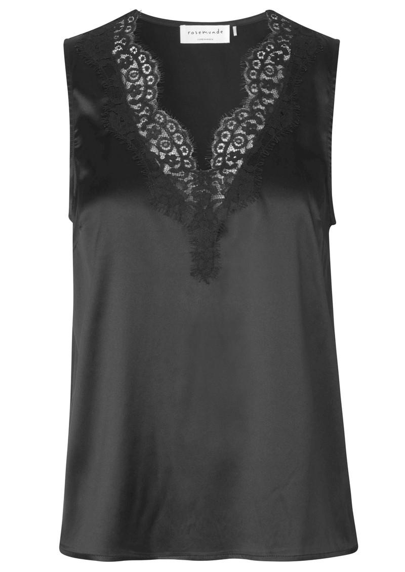 Rosemunde Silk Lace Sleeveless Top - Black main image