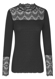 Rosemunde Long Sleeve Silk Mix Top with Lace - Black