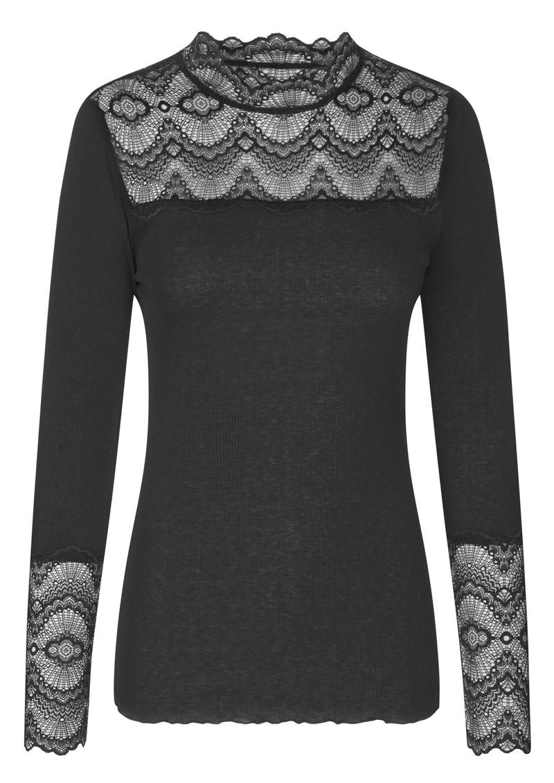 Rosemunde Long Sleeve Silk Mix Top with Lace - Black main image