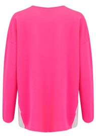 COCOA CASHMERE Colour Block Side Swing Cashmere Jumper - Dayglow & Cloud