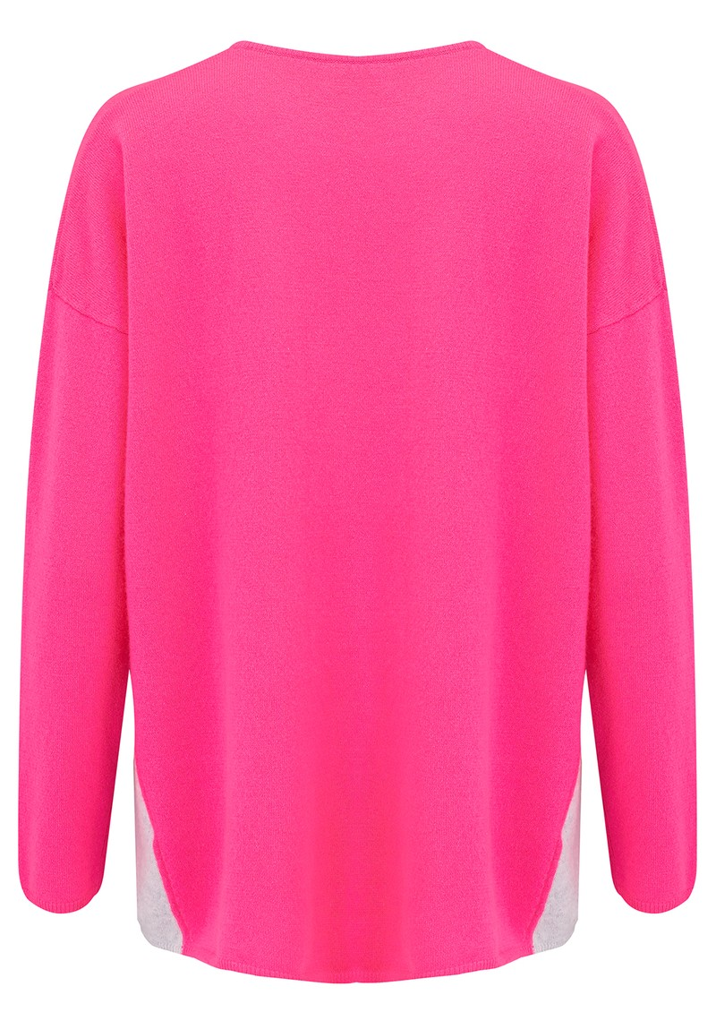 COCOA CASHMERE Colour Block Side Swing Cashmere Jumper - Dayglow & Cloud main image
