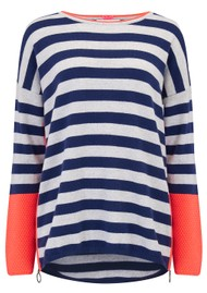 COCOA CASHMERE Textured Stripe Zip Jumper - Midnight & Cloud