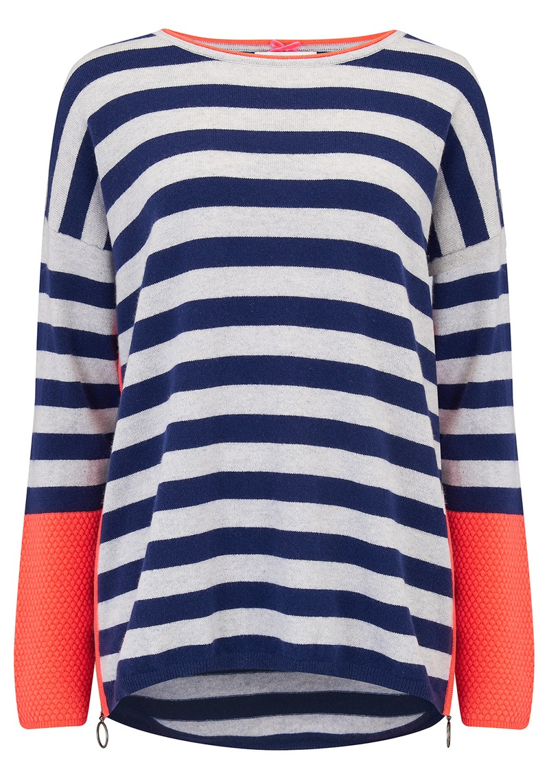 Textured Stripe Zip Jumper - Midnight & Cloud  main image
