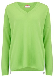 COCOA CASHMERE Side Zip V Neck Cashmere Jumper - Caterpillar