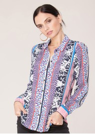 Hale Bob Ashlynn Silk Printed Shirt - Blue