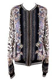 Hale Bob Long Sleeve Printed Bomber Jacket - Black