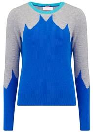 COCOA CASHMERE Leaf Yoke Ribbed Cashmere Jumper - Blue