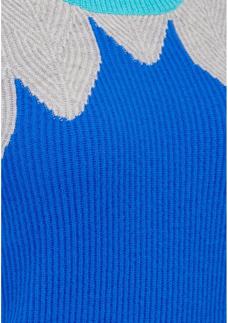 COCOA CASHMERE Leaf Yoke Ribbed Cashmere Jumper - Blue main image