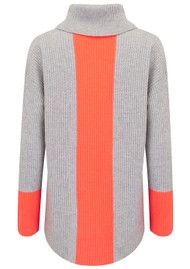 COCOA CASHMERE Colour Block Cowl Neck Cashmere Jumper - Grey & Mexico